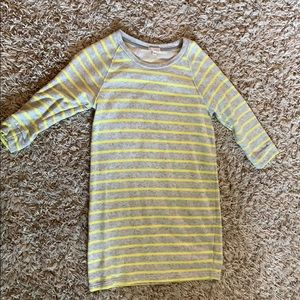 Grey and yellow striped sweatshirt dress from Gap